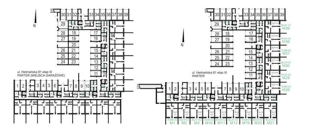 UL. HETMAŃSKA ETAP III parter miesjca garazowe